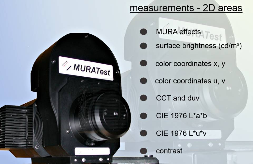 MURA measuring instrument - a luminance camera for measuring luminous or illuminated surfaces